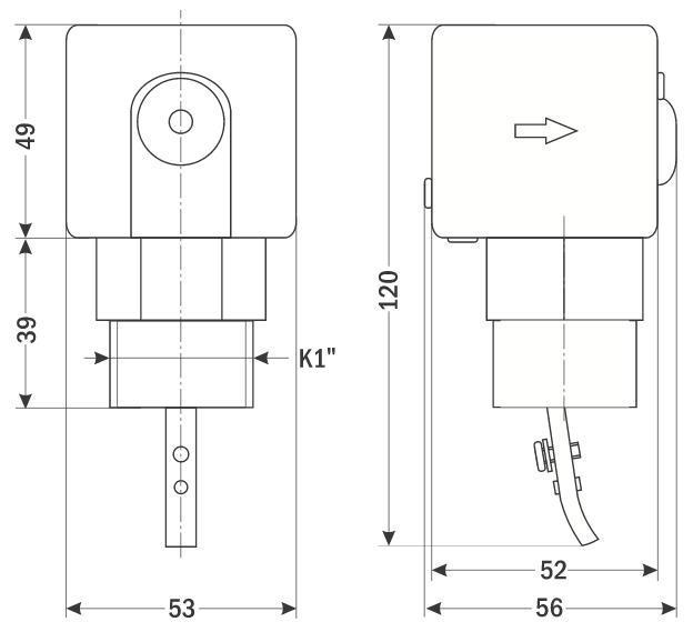 Габаритные размеры на датчики-реле потока от ООО Современные приборы