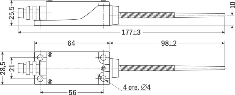 Габаритные размеры конечного выключателя от ООО Современные приборы в Ижевске