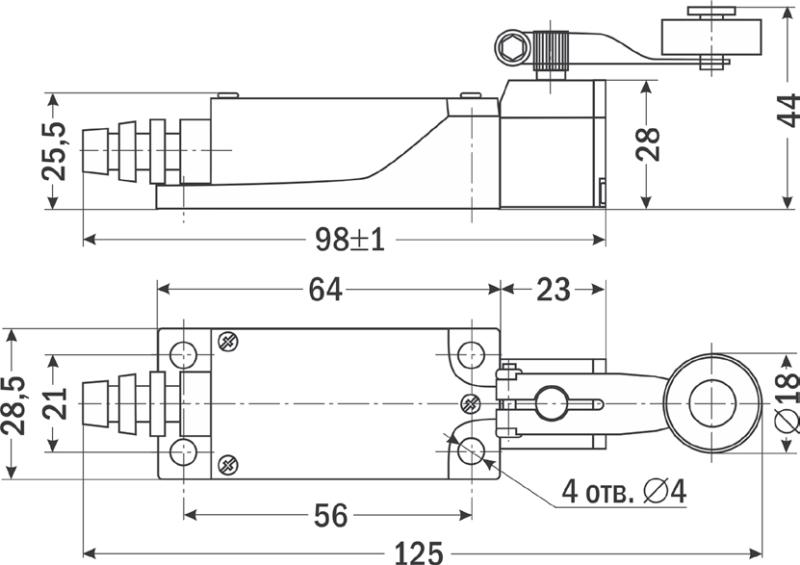 Cхема, габариты конечного выключателя TZ-8104