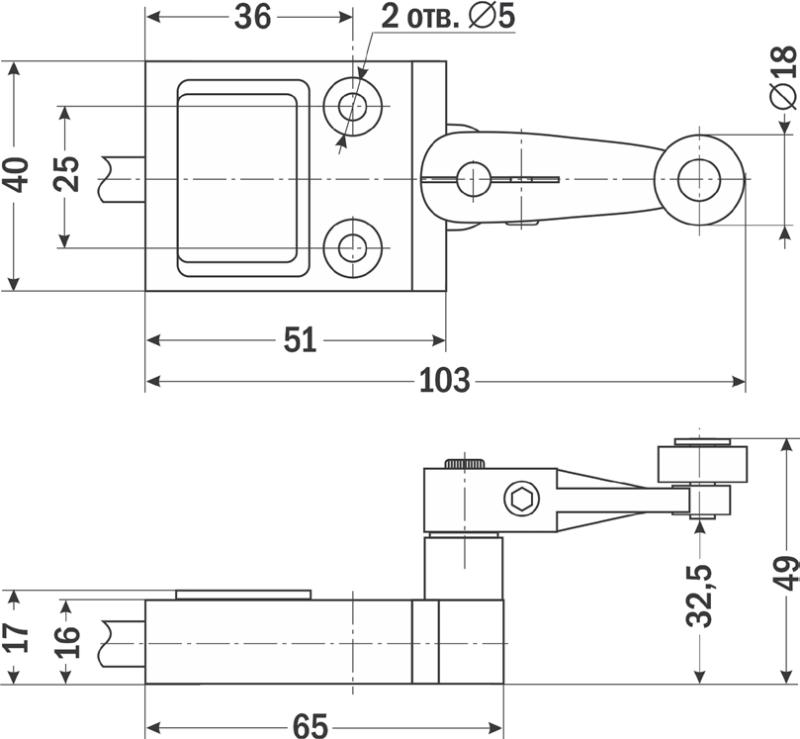 Cхема, габариты конечного выключателя CZ-3104