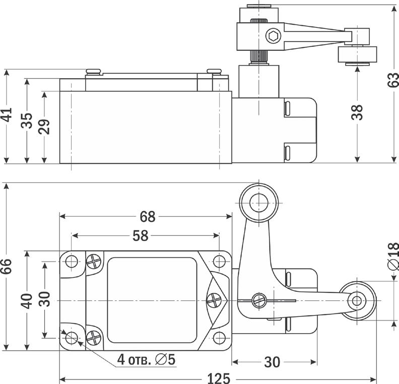 Cхема, габариты конечного выключателя CWLCA-32-41