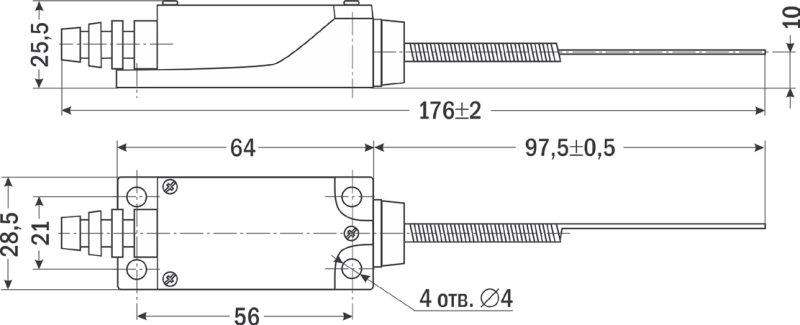 Схема, габариты конечного выключателя TZ-8169